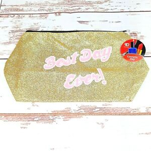 Cosmetic Makeup Bag Pouch Gold Sparkles 13 inch Zippered Carrying Case Brand New