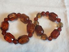 "Beautiful Stretch Bracelet Set 2 Amber Gold Tones Plastic Beads 3/4"" Wide NICE"