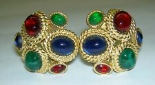 Rare CINER Jewels Faux Gemstone Gripoix Cabochon Rope Goldtone Clip On Earrings