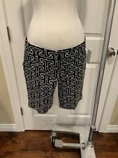 Trina Turk Navy Blue, Black, & White Patterned Bermuda Shorts, Size 2