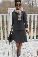 Designer Vintage Gray wool blend& Rex Chinchilla fur Coat Jacket dress set S 0-8
