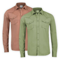 Mens Cotton Western Shirt Long Sleeve Pocket Regular Collared Casual Top XS-3XL