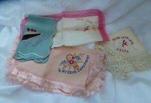 4 Vintage embroidered  sweetheart hankies