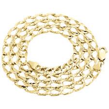 "Mens 10K Yellow Gold Diamond Cut Open Link Fancy Cuban Chain 6mm Necklace 24"""