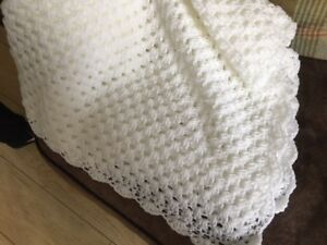 """Baby Toddler Hand Crochet Knit Shawl 48"""" by 48"""" white"""
