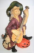 Hexe macht Musik, 24cm, Katze und Kürbis, Halloween Deko, Polyresin, 24x16x12cm