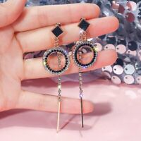 Fashion Black Crystal Rinestone Tassel Drop Dangle Earrings Women Charm Jewelry