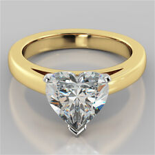 2.00 Ct Heart Shape Diamond Engagement Ring 14K Real Yellow Gold Wedding Size N