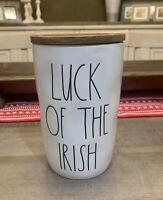 "Rae Dunn - LUCK OF THE IRISH - LL St. Patrick's Cellar w Wood Lid - 7""H 3.5""D"