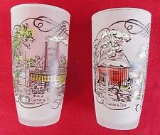 Vintage Currier and Ives Frosted Tumbler Glasses~River Steamboat & Farm Scenes