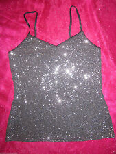 Express Tank Top Taupe Gray Sequin Bling Camisole Club Blouse S