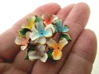 Vintage Multi Coloured Enamel Metal Gold Tone Flower Posy Art Deco Brooch Pin