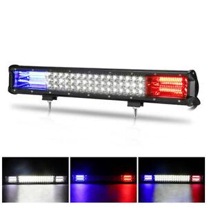 20inch LED Light Bar Tri Row White&Blue&Red Spot Flood Combo Work UTE Truck SUV
