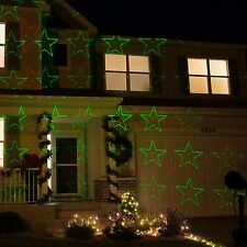 Red & Green Stars Holiday Laser Lights:  Christmas Garden Outdoor Indoor
