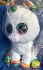 Ty 36859 Pixy Unicorn With Glitter Eyes Glub Push's Beanie Boo's 42 Cm