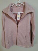 NWT CALVIN  KLEIN PERFORMANCE Women's Full Zip Jacket Sweat Shirt crepe Pink M