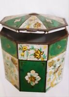 Vtg Baret Ware Tea Tin Canister Hinged Lid Octogon Floral Container England