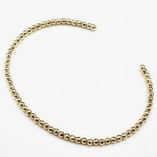 18K Solid Yellow Gold 2.6mm Diamond-Cut Bead Flexible Bangle Bracelet from Japan