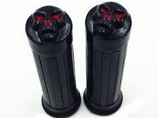"""1"""" Black SKULL Handlebar HAND GRIPS for Honda Shadow 600 750 1100 VTX VT Cruiser"""