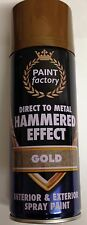 2 x Gold Hammer Effect Spray Paint Can Like Hammerite Metal Rust 400ml