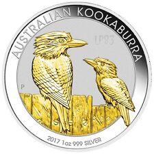 2017 1 Oz SILVER AUSTRALIAN  KOAKABURRA Coin WITH 24k Gold, Blister And Coa.