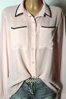 Bluse Gr. 38-40 rosa Chiffon Langarm Bluse mit Strasssteinen aus Italien