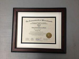 "CUSTOM WOOD Diploma Frames (1.5"" Width Frame w/2 Mats) Mahogany,Walnut, & Black."