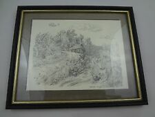 Scott Kennedy Lithograph/ Print ~ Thatch Roof Cottage by A Stream ~ Signed