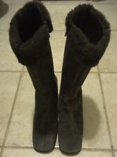 Banana Republic Women's Boots Green Faux Fur Calf High Suede Sz 7m
