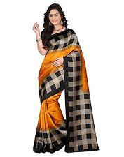 Yellow Art Silk Checked Saree Ethnic Wedding Designer Sari
