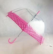 NUOVO chiaro POE Piuttosto Rosa a Pois Ombrello a Cupola Apertura automatica con manico gancio rosa