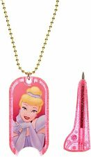 New Disney Princess Cinderella Mini Pen Dog Tag Fairies Chain Necklace Jewelry