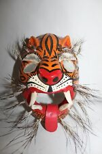 607 TIGRE MIRROR EYES WOODEN MASK mexican design tiger Guerrero Mexico folk art