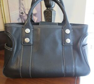 MICHAEL KORS GREENWICH BLACK pebble leather satchel tote  bag purse LARGE