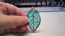 Tiffany Stained Glass - Leaf Pendant - Charm - Ornament - Handmade Gift