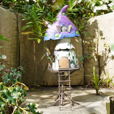 More details for fairy garden tree house toadstool decoration metal outdoor garden patio ornament