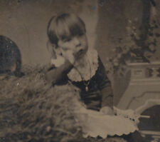 UNUSUAL PORTRAIT OF YOUNG  GIRL ON BAIL OF HAY IN LACE DRESS