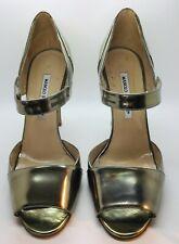 MANOLO BLAHNIK Silver Gunmetal Gold Metallic Leather Size 40 Peep Toe Heel Pump