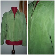 "VTG 80's "" C&E "" Lime Green Suede Silver Metal Zip Up Women's Bomber Jacket M"