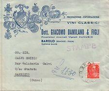 """BUSTA PUBBLICITARIA """" GIACOMO DAMILANO """" VINI CLASSICI BAROLO 1960ca  #C10-447"""