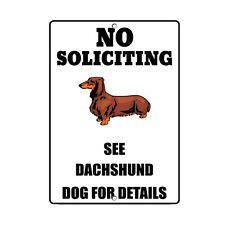 DACHSHUND DOG No Soliciting See Novelty METAL Sign