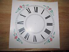 "Paper Clock Dial w/2 Color Floral Corner Designs - 9"" x 9"" - Roman Numerals"