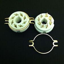 8 Pin Octal Chas. Mount Split Hole Gold plated Ceramic SKT. For KT88, 6550, etc.