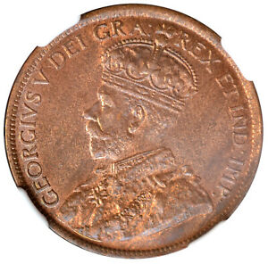 CANADA 1 Cent 1919 George V NGC MS65RB