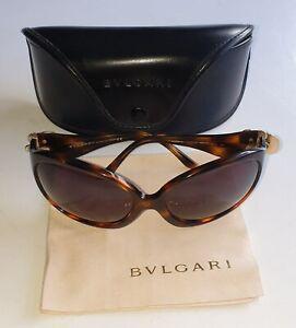 Women's BVLGARI Luxury ITALIAN 8203-B 502/73 63 17 TORTOISE SHELL Sunglasses