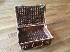 Solid wood brass leather mini trunk suitcase travel luggage bag lattice decor