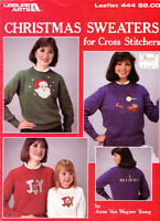 Leisure Arts 444 CHRISTMAS SWEATERS for Cross Stitch 4 Different Designs