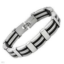 "Attractive Gentlemens Bracelet Crafted in Stainless steel and Rubber 8.5"" Long"