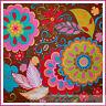 BonEful Fabric FQ Cotton Quilt VTG Brown Red Green Pink Retro Flower Hippie Leaf
