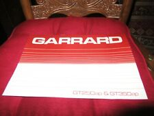 Garrard GT250ap & GT350ap Turntable Original Owners Manual 9 English+ Pages